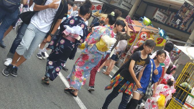 Gion Festival in Yoshiwara, Fuji City (2016) 1): Kimono-clad Girls